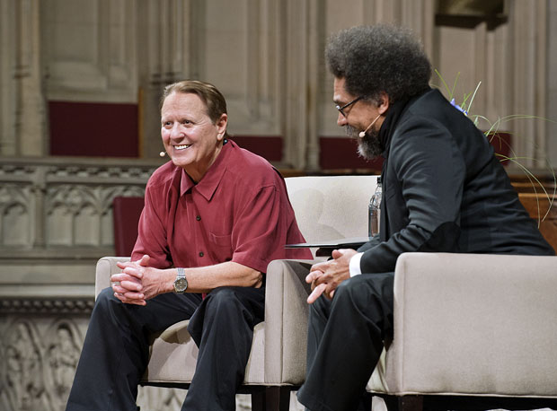 Bob Avakian and Cornel West together on stage, 2014